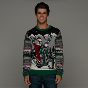 Motorcycle Santa Light-Up Ugly Christmas Sweater